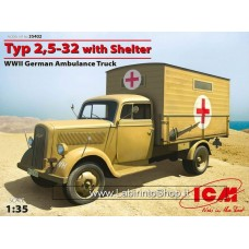 ICM Models 1/35 WWII Typ 2.5-32 With Shelter WWII German Ambulance Truck 35402
