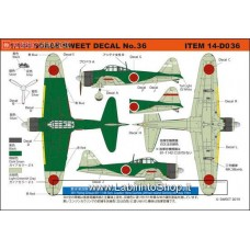 Sweet - Decal No.36 Zero Fighter A6M2b Model 21 381 Flying Group (81-1146 Squadron Leader) (Plastic model)