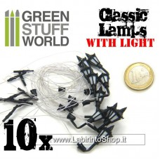 Green Stuff World 10x Classic Wall Lamps with LED Lights