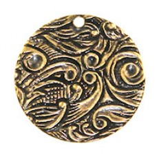 14mm Embossed Floral Disc Ant.GOLD