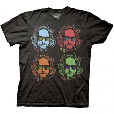Big Lebowski Four Faces of The Dude Black T-Shirt Taglia L