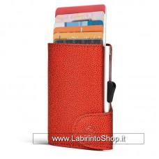 C-secure - Cardholder - Portafoglio Porta Carte di Sicurezza Red - Silver Holder