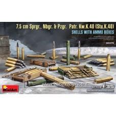 MiniArt 1/35 7.5 cm Sprgr., Nbgr. & Pzgr. Patr. Kw.K.40 Stu.K.40 Shells With Ammo Boxes