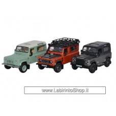Oxford 1/76 Land Rover Defender Heritage Set 3 Cars